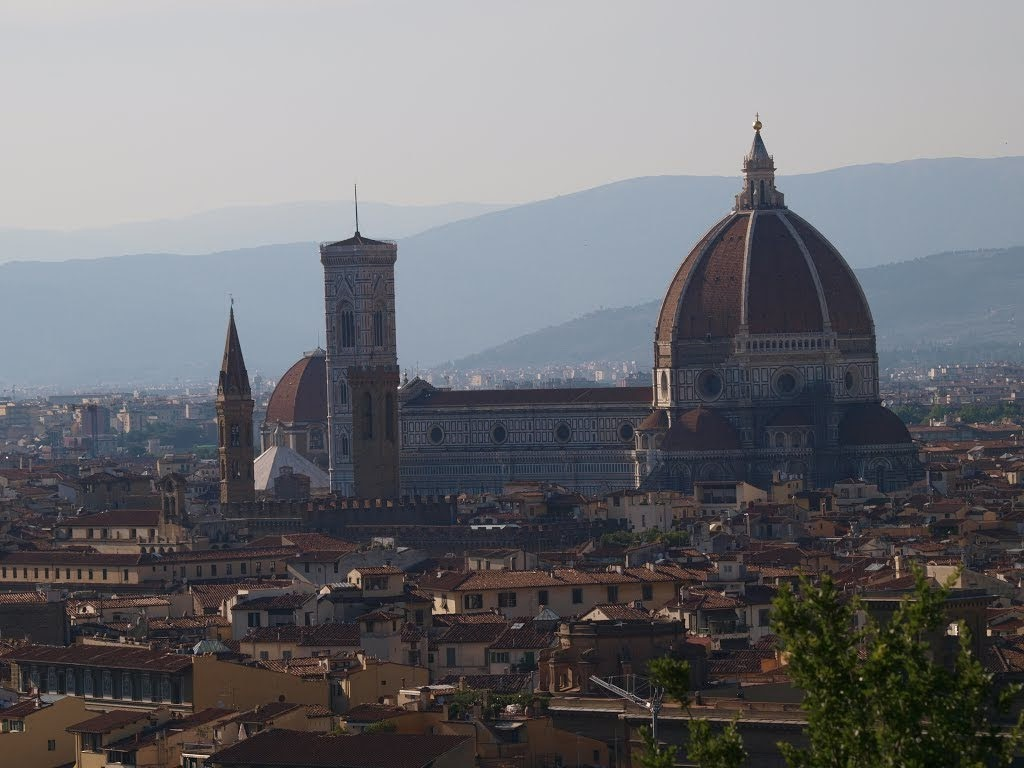 Piazzale Michelangelo, a famous square with a magnificent view of the city of Florence and Brunelleschi's Dome