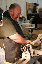 "Photo: He makes the duplicate a little oversize off the tool to leave room for sanding, as he notes that woodturning is a ""subtractive"" process, and it is very difficult to replace wood removed in excess."