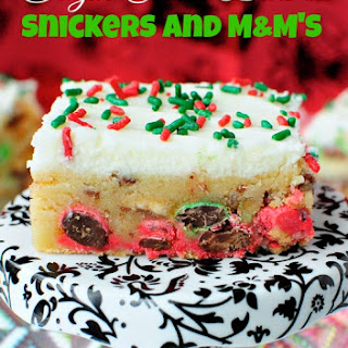 Sugar Cookie Bars with Snickers and M&M's.