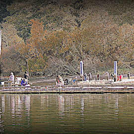The Herring Jiggers by Becky Luschei - Sports & Fitness Other Sports ( herring, boat ramp, jiggers, dock, people, jigging )