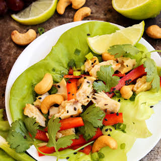 Cashew and Curry Tilapia Lettuce Wraps.