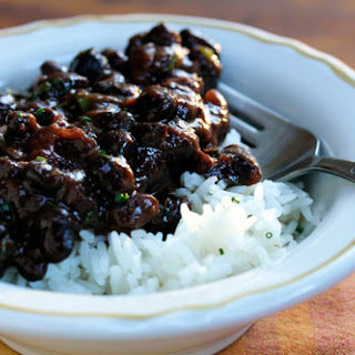 Slow cooker Puerto Rican black beans with sofrito and cilantro.