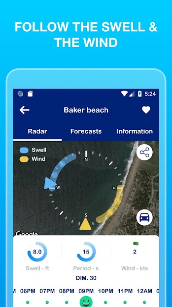 Weesurf: waves and wind forecast and social report Android App Screenshot