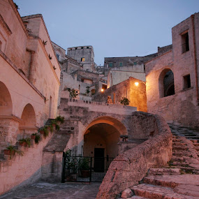 Matera Vicinanza by Gerard Pascazio - Buildings & Architecture Other Exteriors ( matera it, exterior, caves, stairs. leading lines, italy, dusk )