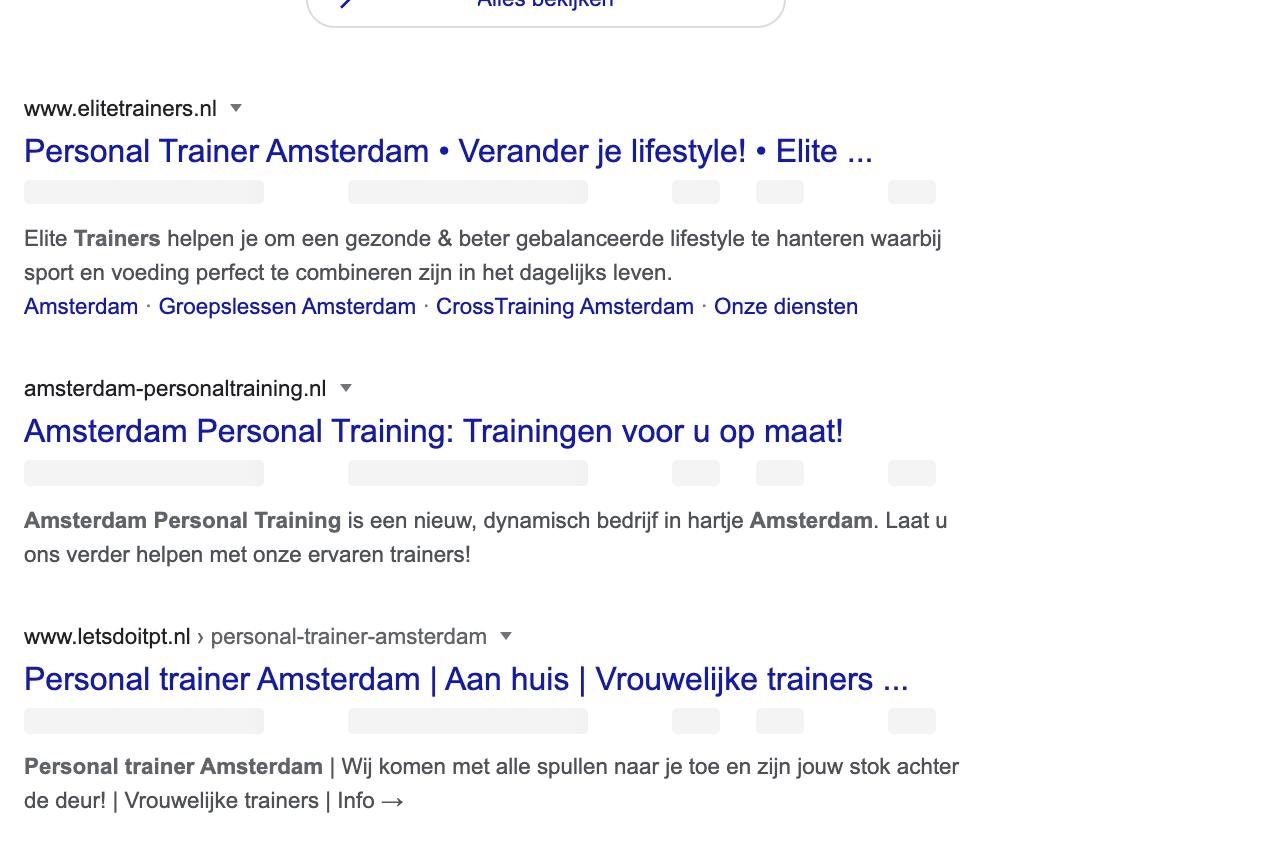 Google zoekresultaten personal trainers