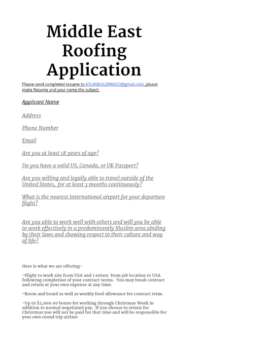 Middle East Roofing Resume
