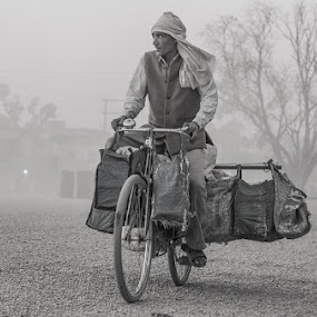 On they way of life by Bishal Ranamagar - Transportation Bicycles ( life, nepalgunj, black and white, documentary, nepal, bicycle,  )