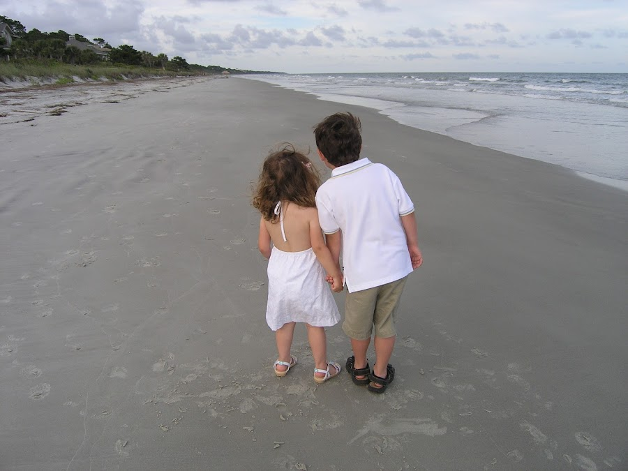 Brother and Sister on the Beach by Joan Chernetsky - Babies & Children Children Candids