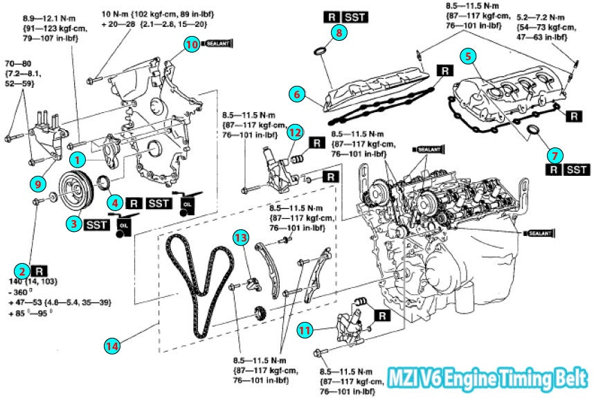 2008-2015 Mazda CX9 MZI Engine Timing Belt Parts Diagram