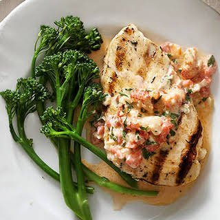 Grilled Chicken with Cajun Crawfish Cream Sauce.
