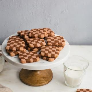 Strawberry Chocolate Checkered Cookies