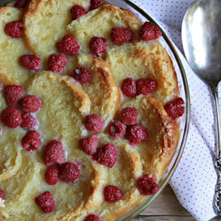 White Chocolate Raspberry Biscuit Bread Pudding.