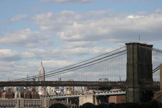 Photo: Looking up the Brooklyn Heights Promenade towards the Brooklyn Bridge.