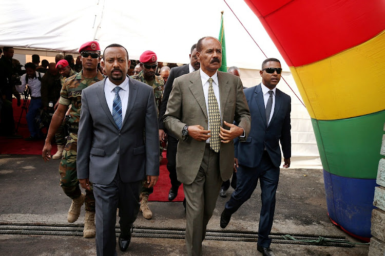 Eritrean President Isaias Afwerki and Ethiopian Prime Minister Abiy Ahmed in Addis Ababa, Ethiopia. Picture: REUTERS/TIKSA NEGERVI