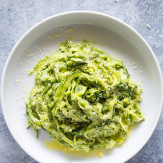 Zucchini Pasta (Zoodles) with Avocado Sauce.