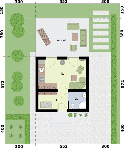 Lido A dom letniskowy na zgłoszenie do 35 m2 - Rzut parteru
