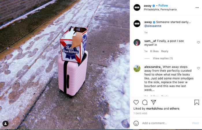 Away suitcase instagram post.