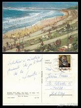 Photo: Eforie Sud, plaja - stampila din 1971 -  din  colectia lui Remus Jercau