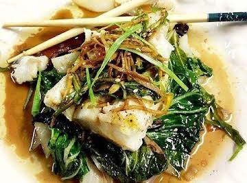 Foil Steamed Spicy Ginger Soy Cod & Bok Choy