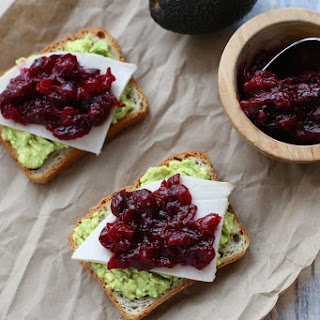 Avocado Toast with Turkey and Cranberry Sauce.