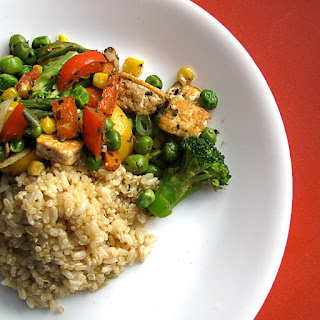 Stir-Fried Tofu with Vegetables and Quinoa/Brown Rice.