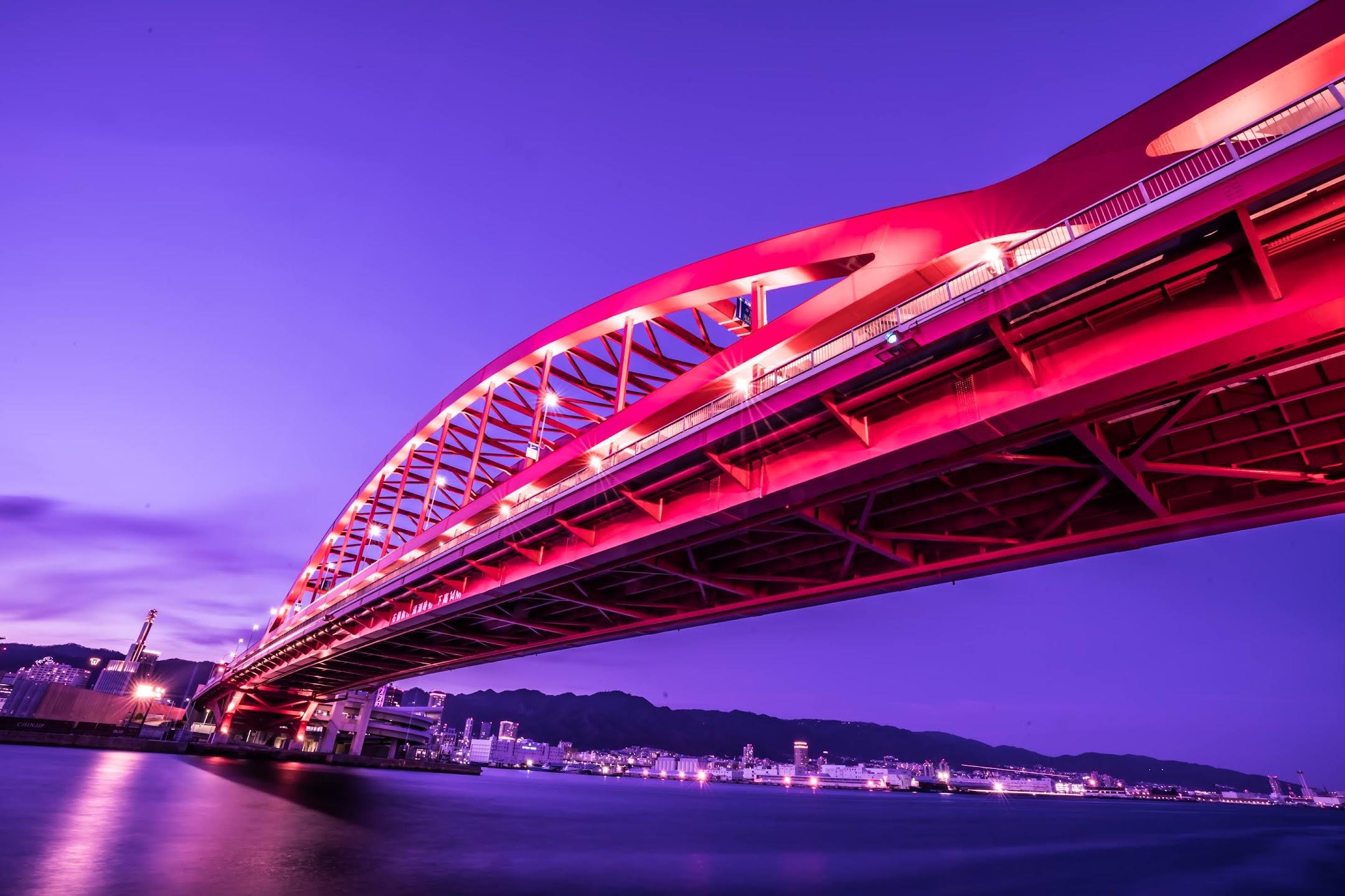 Kobe Great Bridge light-up1