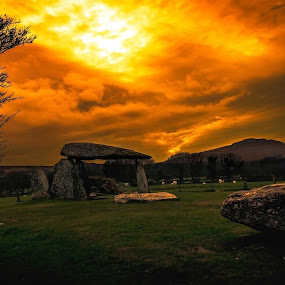 Pentre Ifan Burial Stones by Robert Little - Landscapes Sunsets & Sunrises ( #burial stones #clouds #colour #history #pembrokeshire #standing stones #sunset )