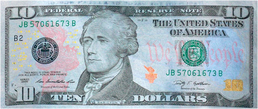Photo: Subtle coloration is preserved in  the Blue Bill $10, -large file.