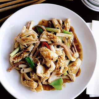 Stir-fried Squid With Black Bean.