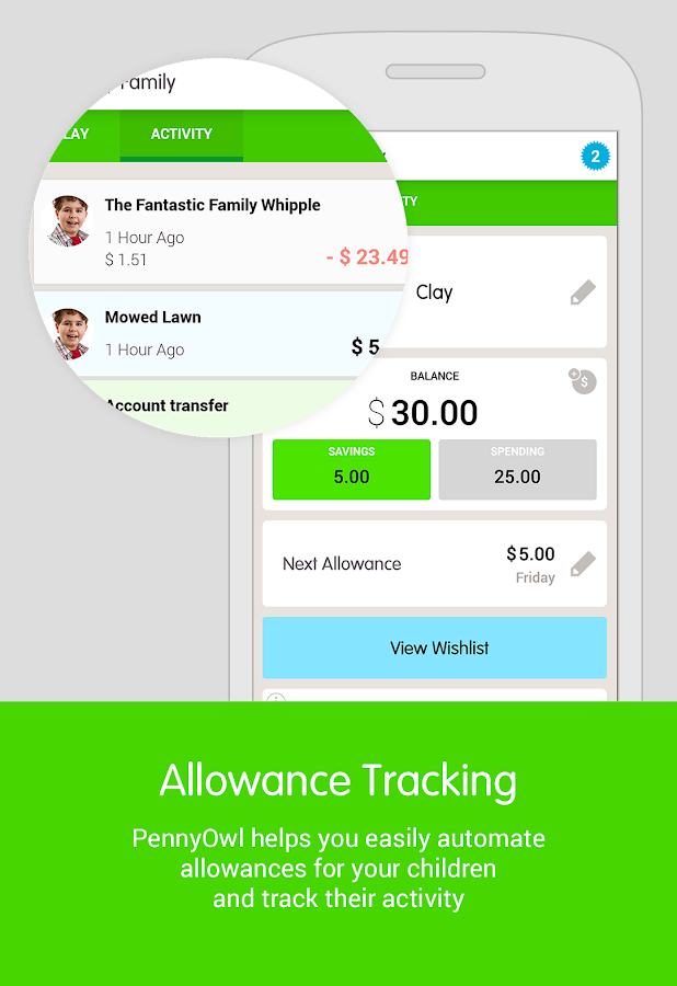PennyOwl Allowance Tracker- screenshot