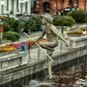 Man crossing the river by David Guest - Buildings & Architecture Bridges & Suspended Structures ( skulpture, bydgoszcz, poland, archer, bronze )