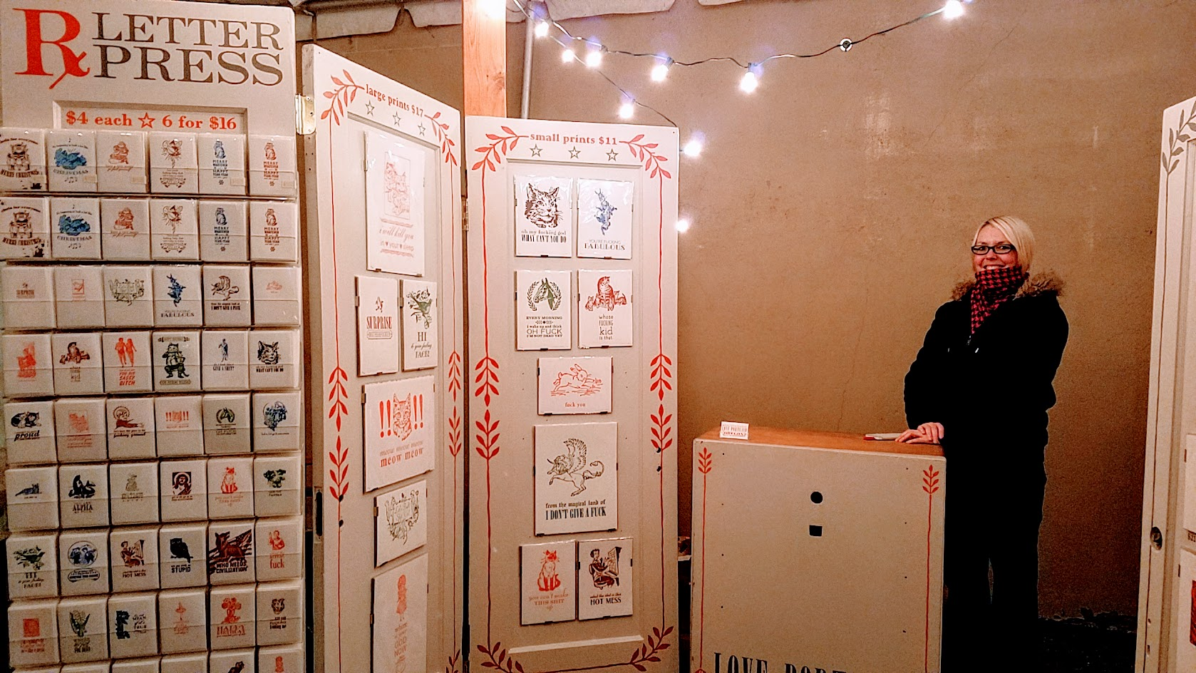Rx Letterpress the Portland Night Market, held every few months in the Central Industrial District in a warehouse, during the November 2016 market