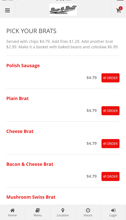 Beer & Brats Online Ordering- screenshot
