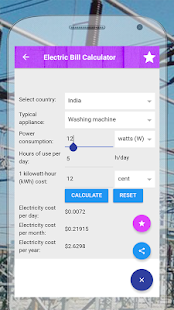 Electric bill cost calculator - náhled