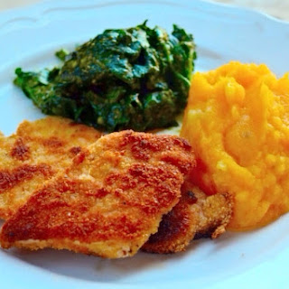 Breaded Chicken Cutlets With Squash Mash And Pesto Dressed Spinach..