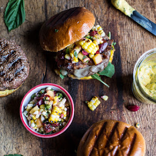 Brie Stuffed Burgers with Sweet Chili Mayo + Corn Salsa