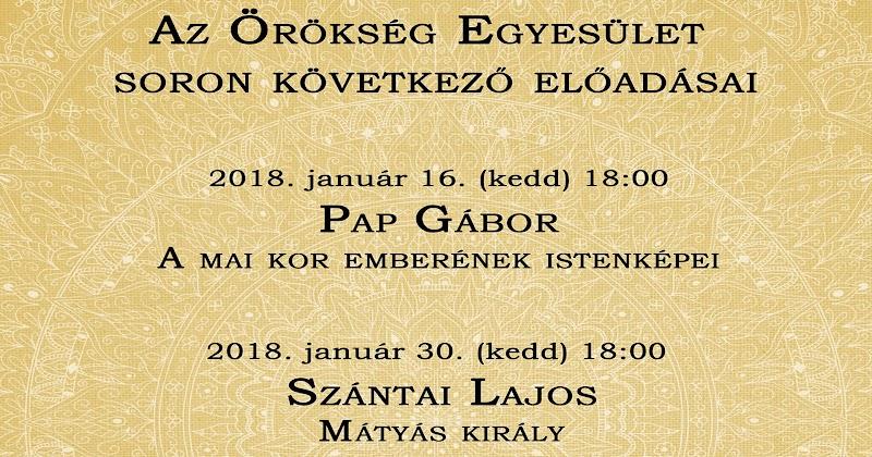 Örökség Egyesület meghívó 2018 januári és februári programokra