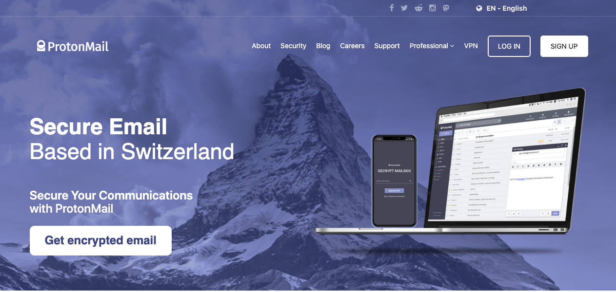 Image of ProtonMail landing page prompting you to sign up for free email service