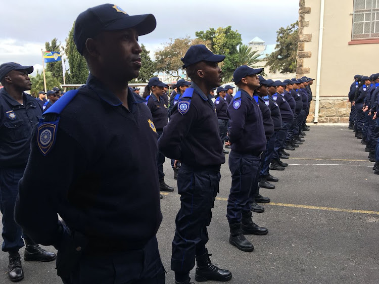 Some of Cape Town's 70 trainee rail enforcement unit officers on parade in Observatory on September 12 2018