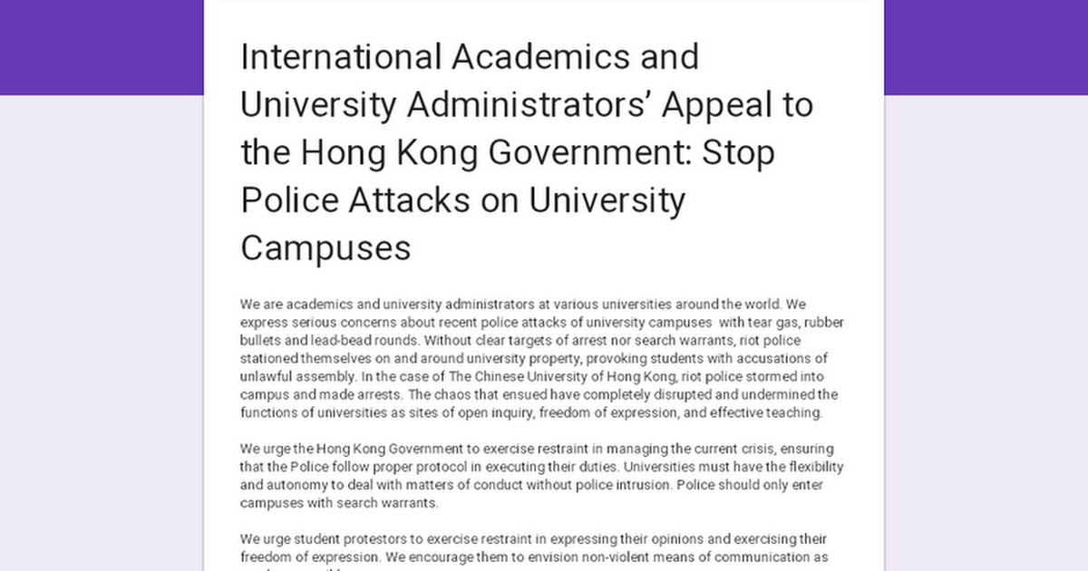 International Academics and University Administrators' Appeal to the Hong Kong Government: Stop Police Attacks on University Campuses
