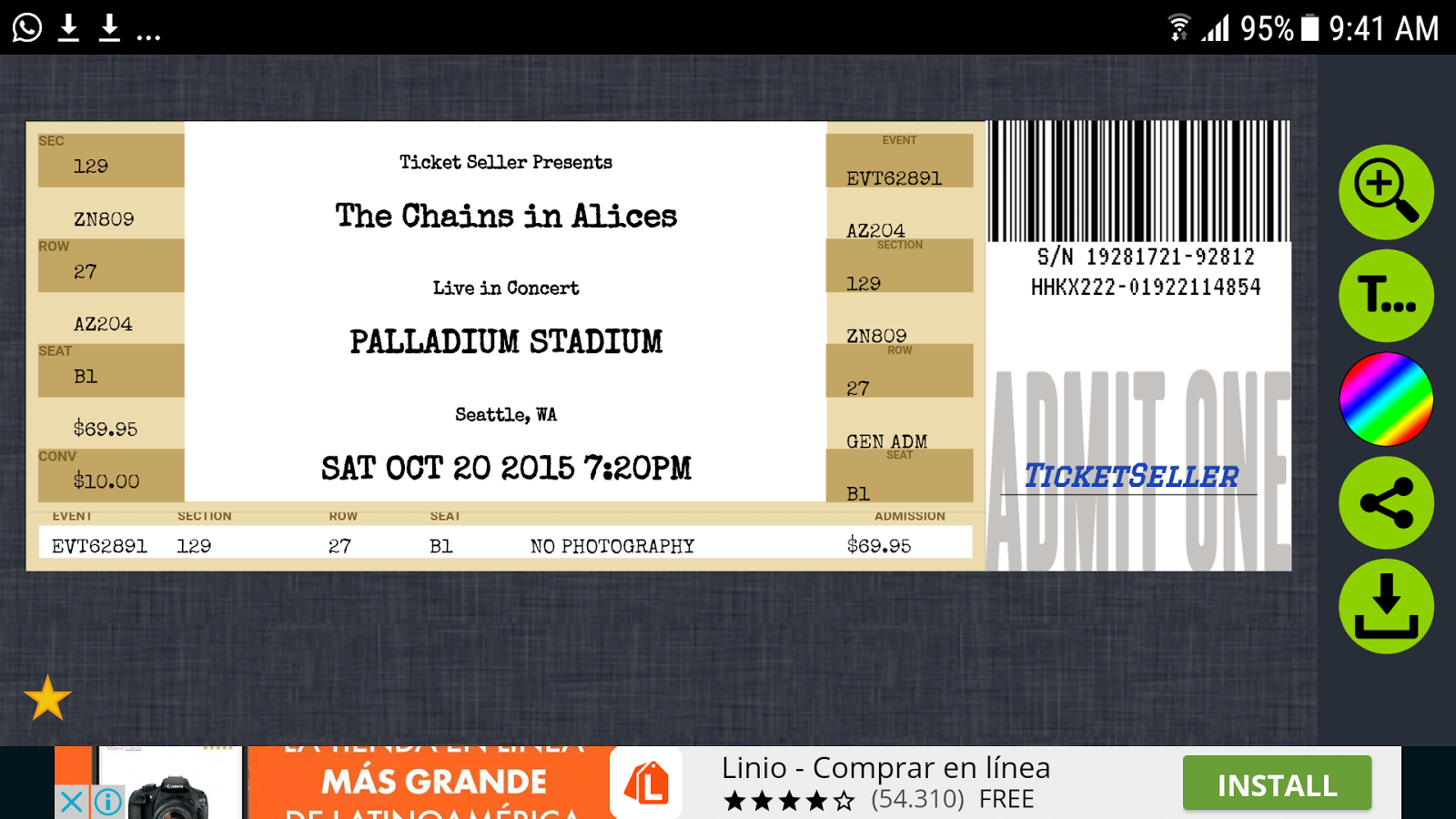 Fake Concert Ticket Generator Ticket Maker Android Apps on