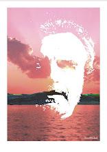 """Photo: Bruno Steinbach. """"Autoretrato com pensamento na Praia de Jacaré"""". Infogravura / papel couchê, outubro de 2007, Paraíba, Brasil."""