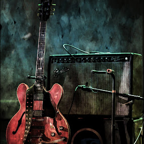 Show Time by Tim Davies - Artistic Objects Other Objects ( music, red, performance, electric, fender, guitar, rustic, stage,  )