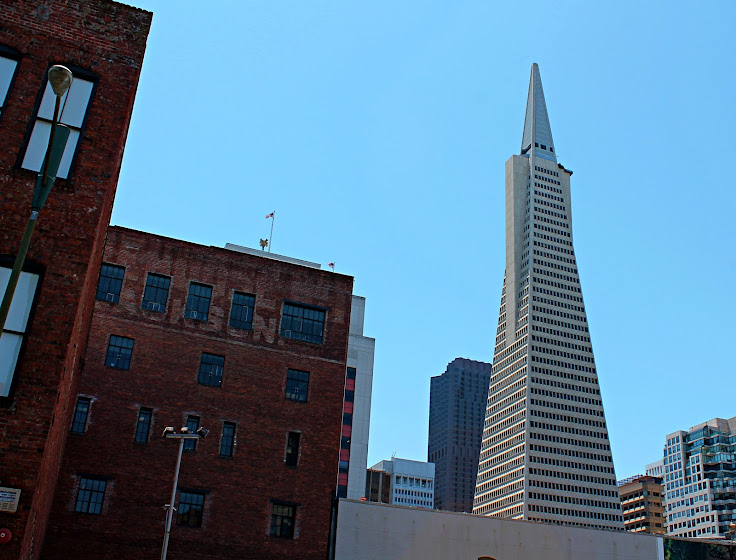 The Transamerica Pyramid overlooks the old warehouses of Jackson Square.