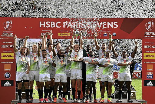Winning ways: The Blitzboks celebrated double glory on Sunday after beating Scotland in the final of the Paris leg of the HSBC World Sevens Series and at the same time clinched the overall World Series title. Picture: CHARLES MCQUILLAN/GETTY IMAGES
