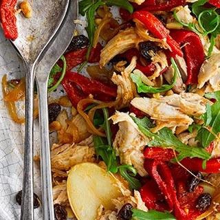 Catalan Roast Chicken, Potato and Pepper Salad.