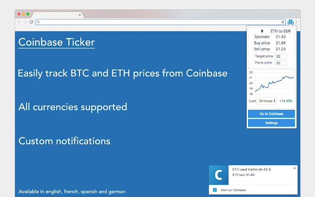 Track Ethereum, Bitcoin and Litecoin prices from Coinbase in all supported  currencies