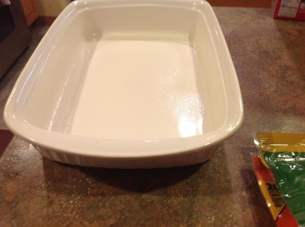 Spray a 9X13 size casserole dish with nonstick cooking spray and set aside till...