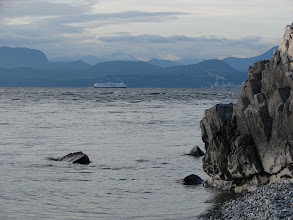 Photo: Out of the wind and looking across Malaspina Strait to the BC mainland.