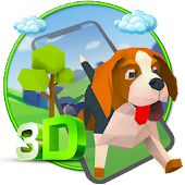 3D Cute Dog theme